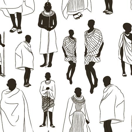 adult kenya: Maasai couple african people pattern