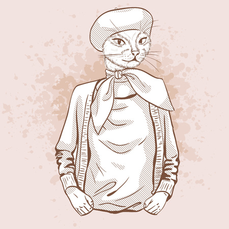 Elegant woman with cats head and beret and scarf Illustration
