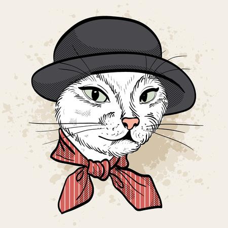 Vector color set of elegant cat woman face
