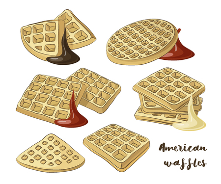 Vector illustration of various American waffles. Stock Photo