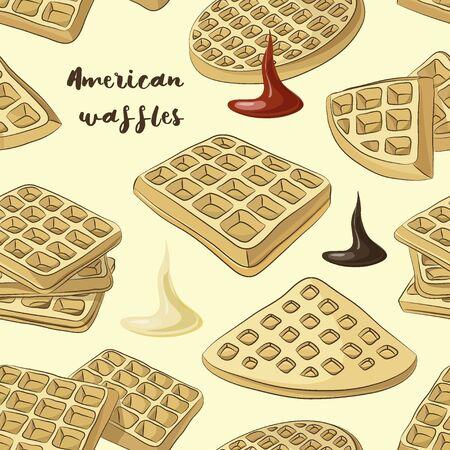 Various American waffles pattern Stock Photo