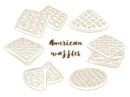 Vector illustration of various American waffles. Stok Fotoğraf