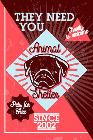 Color vintage animal shelter banner Illustration