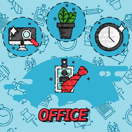 responsive design: Office flat concept icons