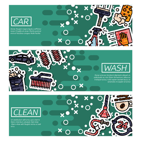 car care center: Set of Horizontal Banners about car wash