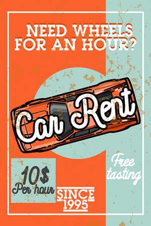 dirty car: Color vintage car rent banner