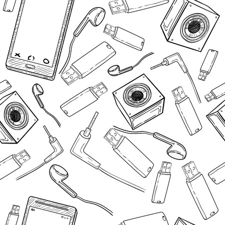 handheld device: Seamless pattern of electronic gadget Illustration