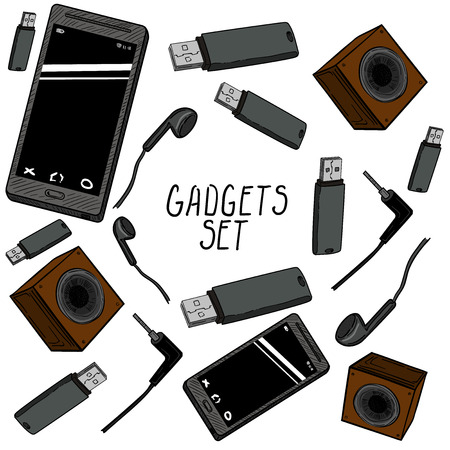 handheld device: Set of hand drawn gadget icons
