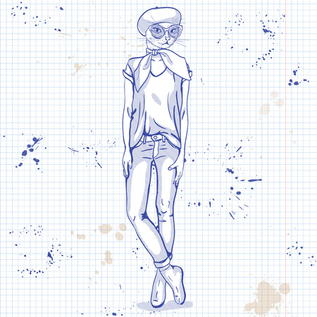 Vector sketch of female model with cats head wearing jeans, shoes, T-shirt, neck scarf, beret on a notebook page. Illustration