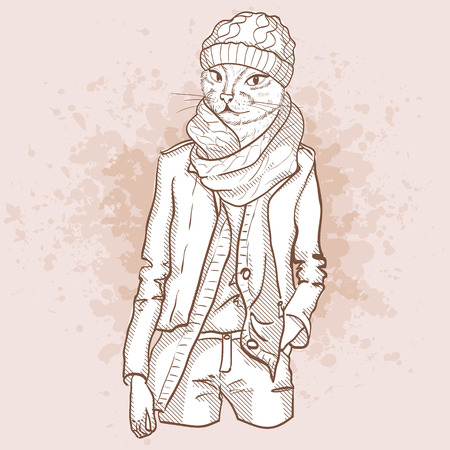 oversize: A Vector sketch of female model with cats head wearing ankle boots, oversize dress, scarf, turban and sunglasses Illustration