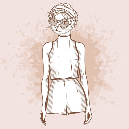 Cool Vector sketch of female model with cats head wearing overall, ballet flats, turban and sunglasses