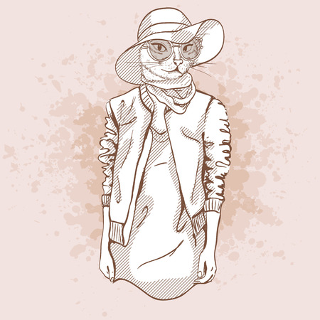 oversize: Elegant Vector sketch of female model with cats head wearing oversize dress, leather jacket, T-shirt, hat, sneakers, neck scarf and sunglasses Illustration