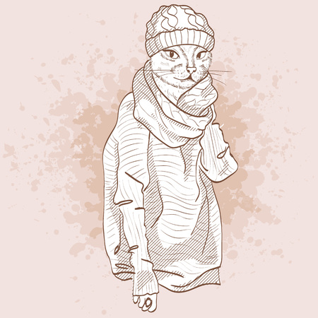 A Vector sketch of female model with cats head wearing ripped jeans, ankle boots, oversize sweater knitted scarf and knitted hat