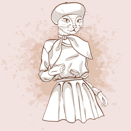 Cheerful Vector sketch of female model with cats head wearing sweatshirt, circle skirt, ballet flats, bow and beret