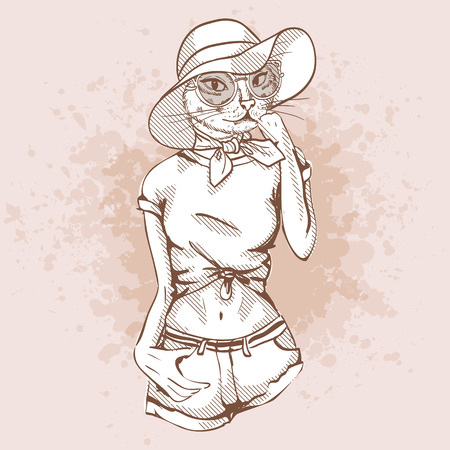 Trendy Vector sketch of female model with cats head wearing t-shirt, jeans, headscarf, hat, sunglasses and ballet flats Illustration