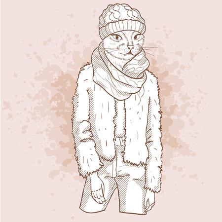 Vector sketch of female model with cats head wearing jeans, boat shoes, fur coat, knitted scarf and knitted hat