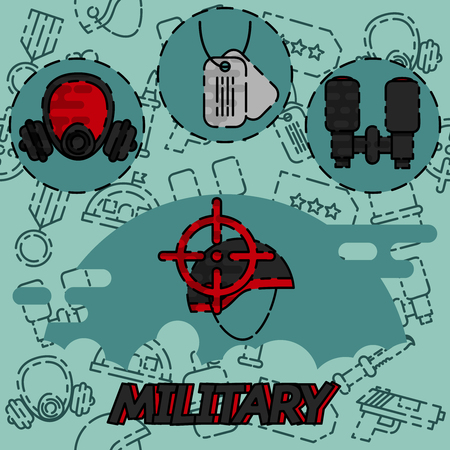 bombshell: Concept of military equipment flat icons. Vector illustration design Illustration