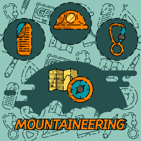 mountaineering: Mountaineering flat concept icons