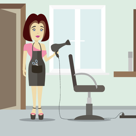 barbershop: Caucasian stylist standing near armchair. Hairdresser standing at workplace in barber shop. Vector flat design illustration.
