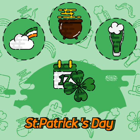 ireland flag: St.Patricks Day flat concept icons. Vector illustration. Patrick concept symbols. Pub Party Invitation template or menu cover design