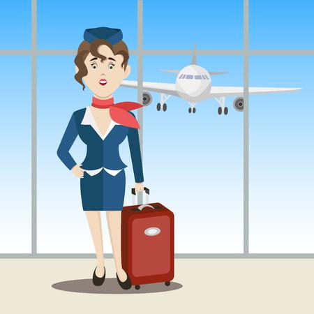 Cute stewardess standing. Vector illustration Illustration