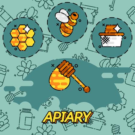 comb: Apiary flat icons set. Illustration