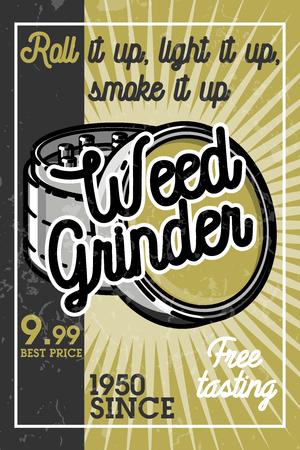 weeds: Color vintage marijuana banner.