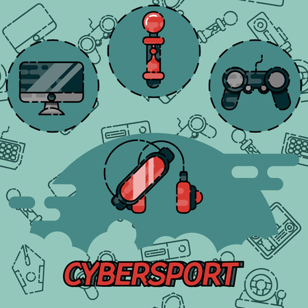 handheld device: Cybersport flat icons set