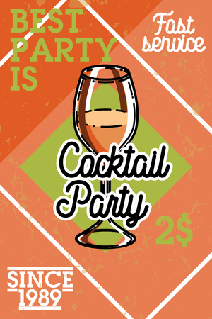 Color vintage coctail party banner