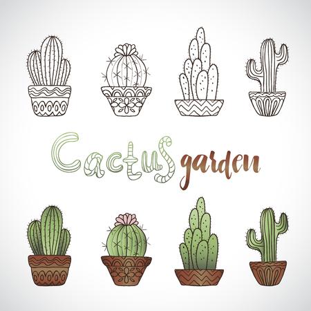 Cute hand drawn vector cactuse set 向量圖像