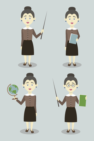Set of female professional teacher