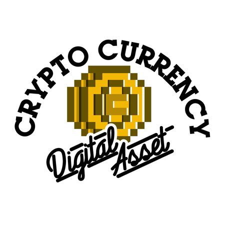 investment concept: Color vintage cryptocurrency emblem