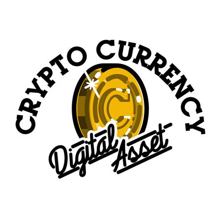 Color vintage cryptocurrency emblem