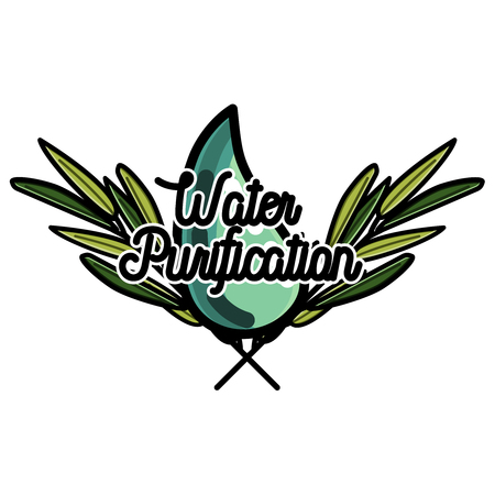 Color vintage water purification emblem Illustration