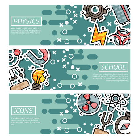 isotope: Set of Horizontal Banners about physics. Vector illustration, EPS 10 Illustration