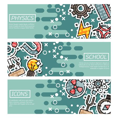 Set of Horizontal Banners about physics Stock Photo