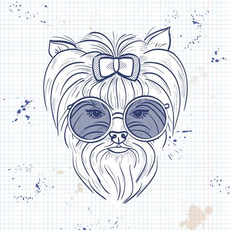 Vector colore schizzo di cane elegante
