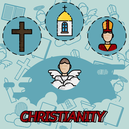 biblical: Christianity flat concept icons