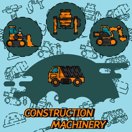 建設機械フラット コンセプト アイコン。重い機械コンクリート ミキサー、ローダー、クローラー クレーンします。ベクトル図