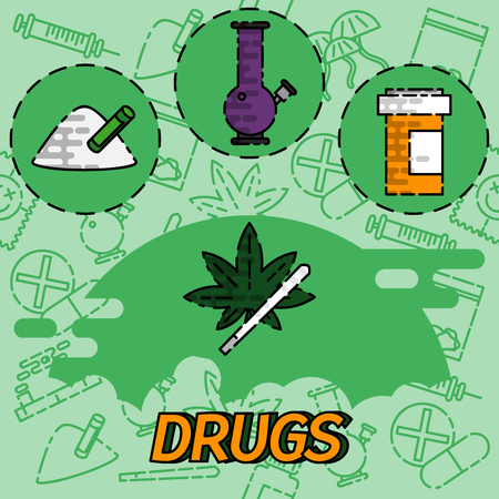 doctor tablet: Drugs flat concept icons. Marijuana narcotic, addiction and capsule, smoke pipe, tablet pharmacy, vector illustration