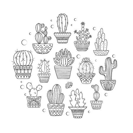 Cute hand drawn vector cactuse set  イラスト・ベクター素材
