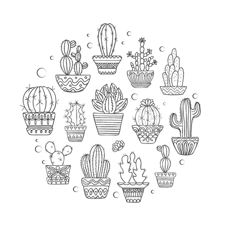 Cute hand drawn vector cactuse set Illustration