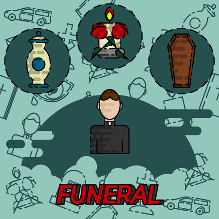 disaster: Funeral flat concept icons