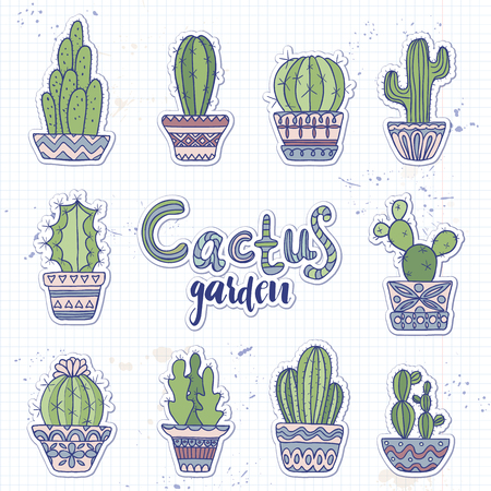 Cute hand drawn vector cactuse set 矢量图像