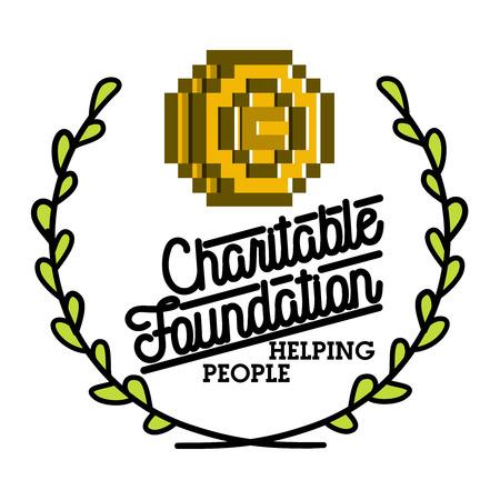 Color vintage charitable foundation emblem Illustration