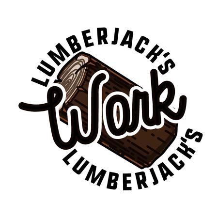 Color vintage lumberjack emblem Illustration