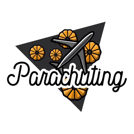 Color vintage parachuting emblem