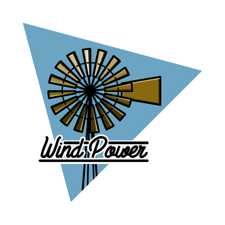 wind mills: Color vintage wind power emblem