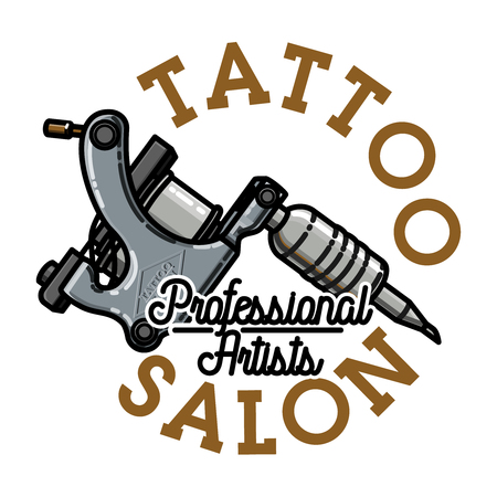 Color vintage tattoo salon emblem.