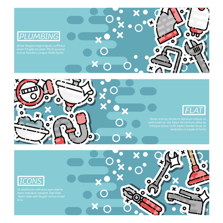 Set of Horizontal Banners about plumbing